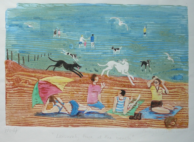 Leisurely time on the beach - 15.5 x 10.5 inches. £95.00 (unframed) or £200.00(framed).