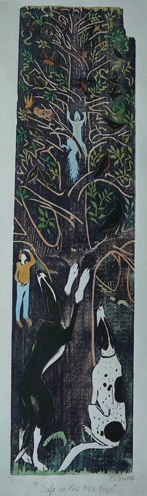Safe in the treetops - 22.5 x 6 inches. £100.00 (unframed) or £185.00 (framed).